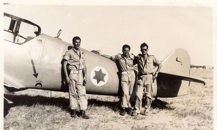 """Pilots Lou Lenart, Gideon Lichtman, and Modi Alon in """"Above And Beyond,"""" which documents the formation of the Israeli Air Force. (International Film Circuit)"""