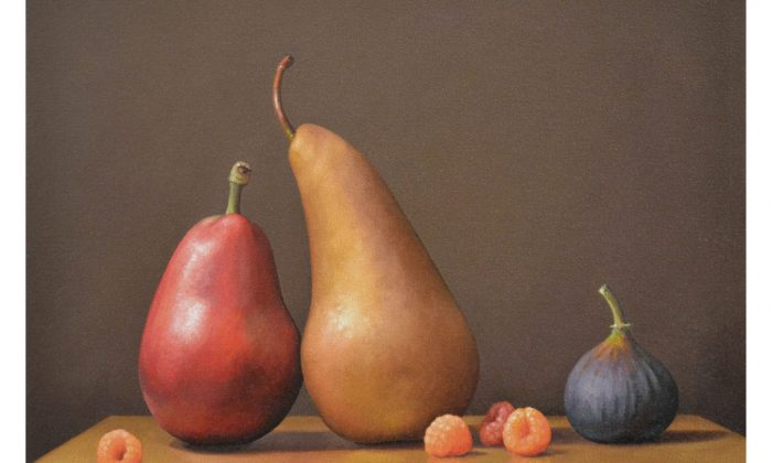 """""""Two Pears, a Fig and Raspberries,"""" 2013, by Patricia Coonrod. Oil on canvas, 12 X 16 inches. (Courtesy of Patricia Coonrod)"""