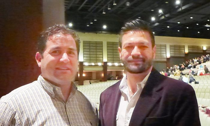 Tony Castelli, tech consultant, and Billy Button, a business director at the Shen Yun performance at the North Charleston Performing Arts Center in North Charleston, S.C. (Epoch Times)