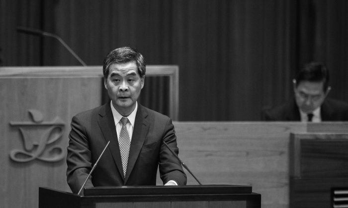 Hong Kong Chief Executive Leung Chun-ying delivers his annual policy address at the legislative council in Hong Kong on Jan. 14, 2015. (Philippe Lopez/AFP/Getty Images)