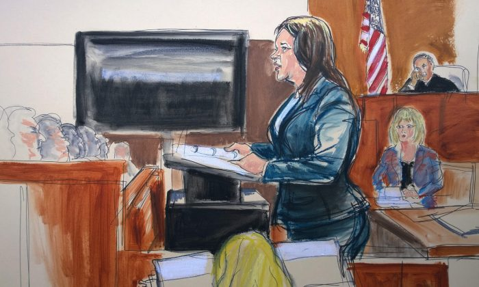 In this courtroom sketch, Assistant District Attorney Joan Illuzzi Orbon delivers her opening statement in the case of Pedro Hernandez, accused of killing 6-year-old Etan Patz, in New York state Supreme Court, Friday, Jan. 30, 2015. Etan was last seen alive walking to the bus stop in 1979. His body has never been found. (AP Photo/Elizabeth Williams)