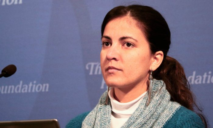 """Rosa María Payá of the Cuban Christian Liberation Movement, daughter of slain dissident Oswaldo Payá, speaks on Jan. 23, 2015, at The Heritage Foundation on """"Promoting Human Rights and Democratic Reforms in Cuba."""" (Gary Feuerberg/Epoch Times)"""