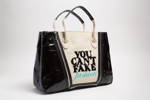 "Catherine Malendrino ""You Can't Fake Fashion"" eBay x CFDA anti-counterfeit campaign Tote, 2013 in vinyl, cotton, USA. (© The Museum at FIT)"
