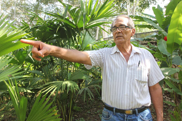 Víctor Zambrano points to one of the many native trees he planted to reforest his family's homestead after squatters had turned it into cattle pasture. Photo by Barbara Fraser.