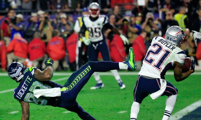 Malcolm Butler intercepts a pass by Russell Wilson intended for Ricardo Lockette late in the fourth quarter of Super Bowl XLIX to preserve the victory for New England at University of Phoenix Stadium on Feb. 1, 2015 in Glendale, Arizona. (Rob Carr/Getty Images)
