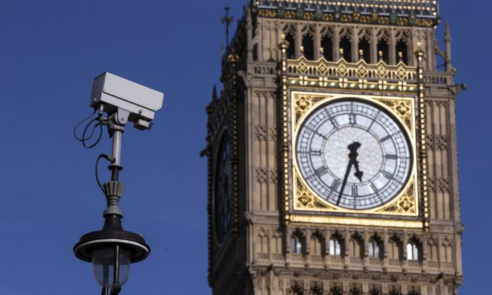 A CCTV camera in Westminster, London, on April 15, 2014. (Oli Scarff/Getty Images)