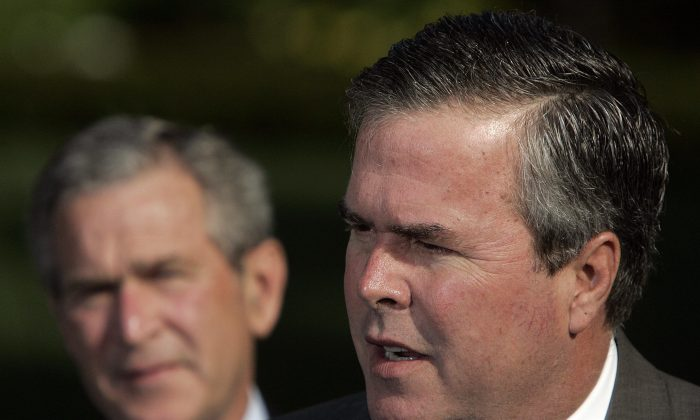 George W. Bush (L) looks on as his brother Jeb Bush speaks on 19 April, 2006. (Jim Watson/AFP/Getty Images)
