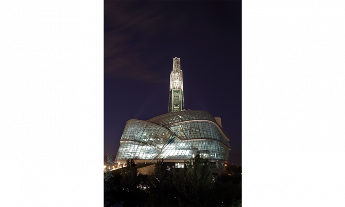 A night view of the Canadian Museum For Human Rights in Winnipeg, Sept.16, 2014. Canada's libraries, museums, art galleries, and other memory institutions are lagging behind the rest of the world when it comes to preserving their digital archives, according to a new report. (The Canadian Press/John Woods)