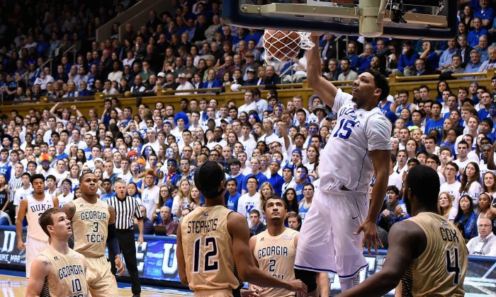Jahlil Okafor #15 of the Duke Blue Devils dunks against the Georgia Tech Yellow Jackets during their game at Cameron Indoor Stadium on February 4, 2015 in Durham, North Carolina. Duke won 72-66.  (Photo by Grant Halverson/Getty Images)