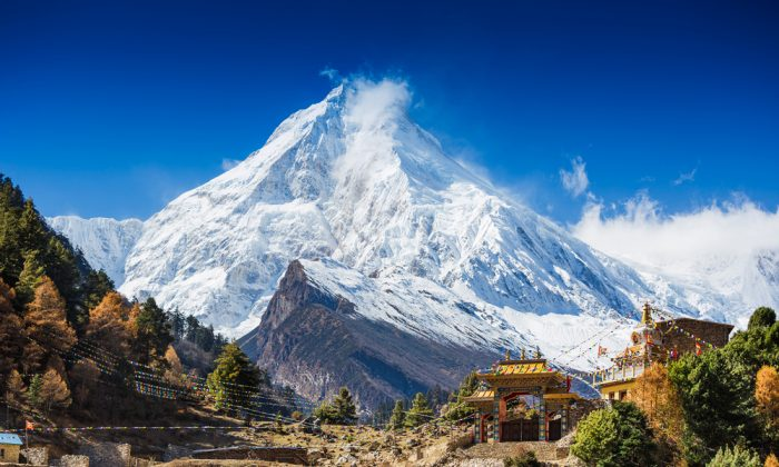 Himalayas mountain landscape. Mt. Manaslu in Himalayas, Nepal via Shutterstock*
