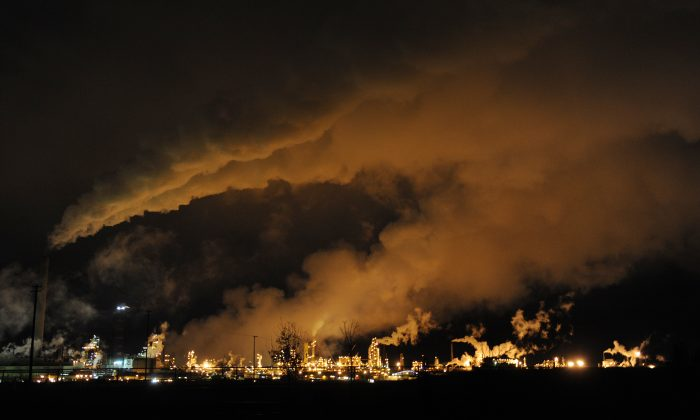 A night view of the Syncrude oil sands extraction facility near the town of Fort McMurray in Alberta Province, Canada, on October 22, 2009. (Mark Ralston/AFP/Getty Images)