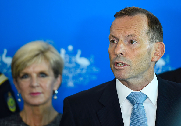 Prime Minister Tony Abbott speaks at a media conference at Townsville Airport on Feb. 7, 2015.  (Ian Hitchcock/Getty Images)