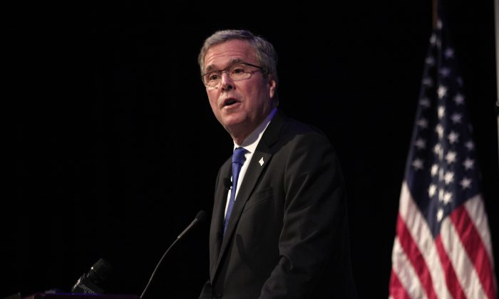 Former Florida Governor Jeb Bush giving his first major campaign address at the Detroit Economic Club February 4, 2015 in Detroit, Michigan. (Bill Pugliano/Getty Images)
