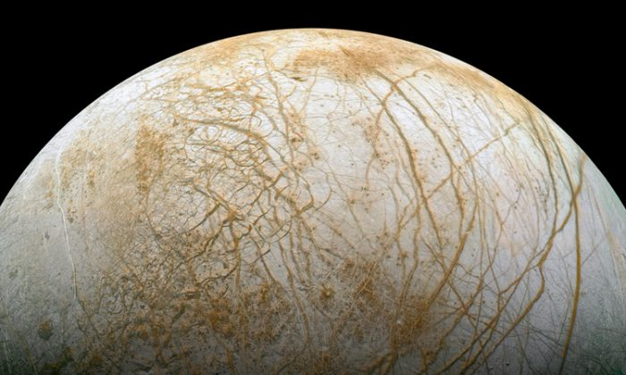 The prize, Europa, a watery world. (NASA)