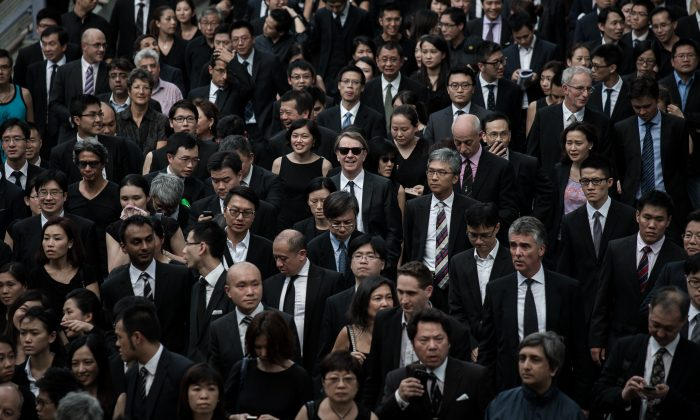 Lawyers march in defense of judicial independence in Hong Kong on June 27, 2014. (Philippe Lopez/AFP/Getty Images)