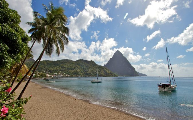 Caribbean island St Lucia landscape via Shutterstock*