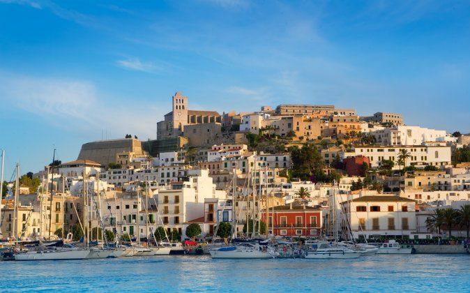Ibiza Eivissa town with blue Mediterranean sea city view via Shutterstock*