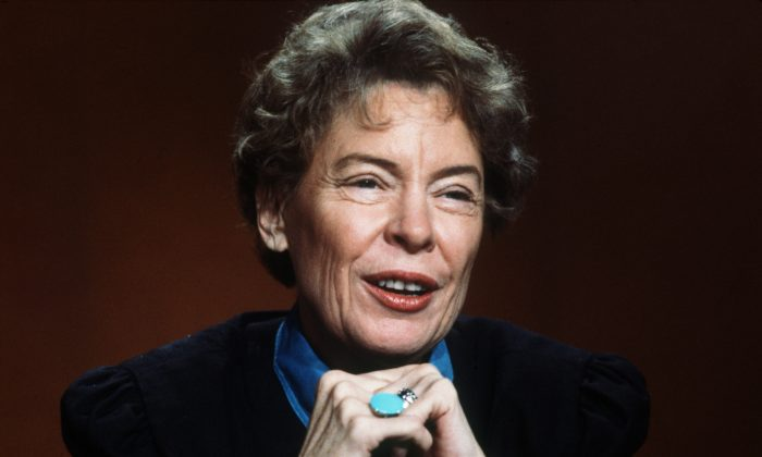 """Jeane Kirkpatrick, U.S. permanent representative to the U.N. during the administration of Ronald Reagan, on the CBS TV show """"Face The Nation,"""" in this file photo. (AP Photo/J. Scott Applewhite)"""