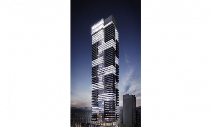Construction started in January for YC Condos, Canderel's 66-storey project at Yonge and Grenville in Toronto. The condo building will be the first in Canada to offer Samsung digital home technology. (Courtesy of Canderel)