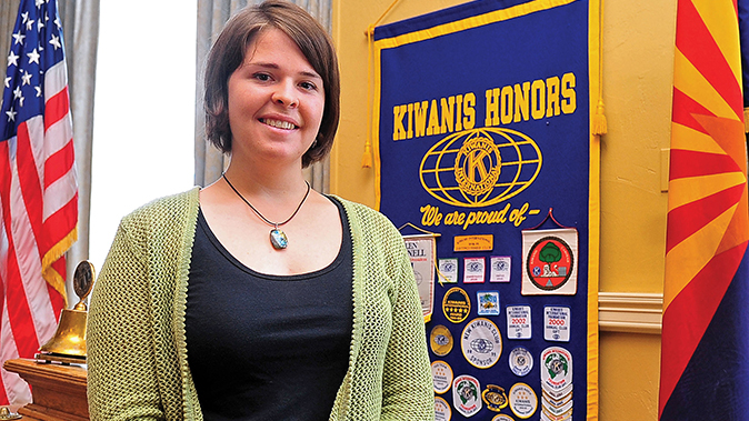Kayla Mueller is shown after speaking to a group in Prescott, Ariz. The parents of an American woman held by Islamic State militants say they have been notified of her death. (AP/The Daily Courier, Matt Hinshaw)