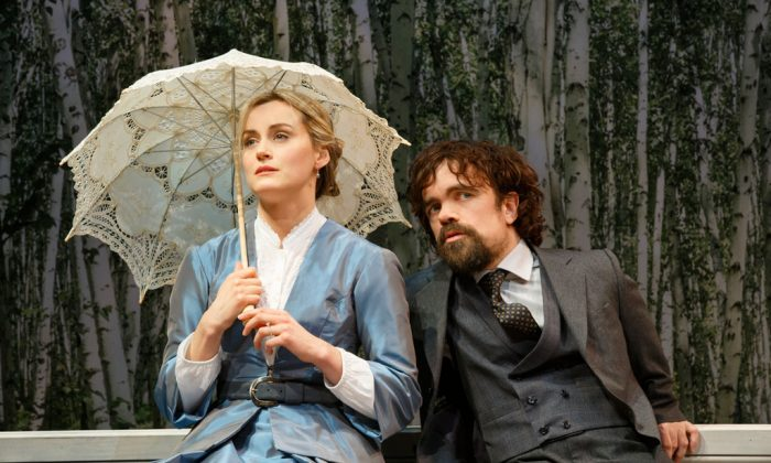 """Natalya (Taylor Schilling) is bored with her life on the estate, but her many love interests, including Mikhail Rakitin (Peter Dinklage), keep her entertained in Ivan Turgenev's classic """"A Month in the Country."""" (Joan Marcus)"""