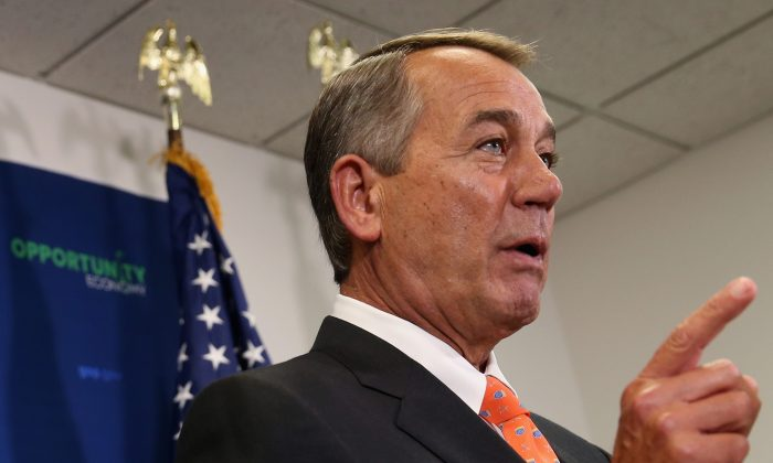 Speaker John Boehner (R-Ohio.) said the House has no plans of revising a bill funding the Department of Homeland Security, which has been filibustered by Democrats over its clauses on immigration, on February 11, 2015 in Washington, DC. (Mark Wilson/Getty Images)