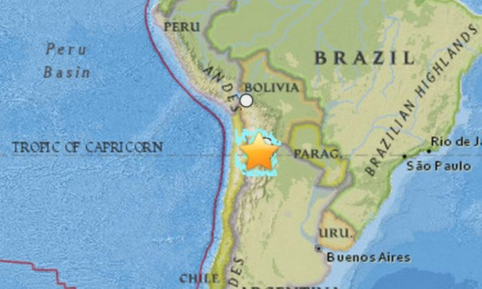 An earthquake struck the border of Chile and Argentina on Wednesday. (USGS)