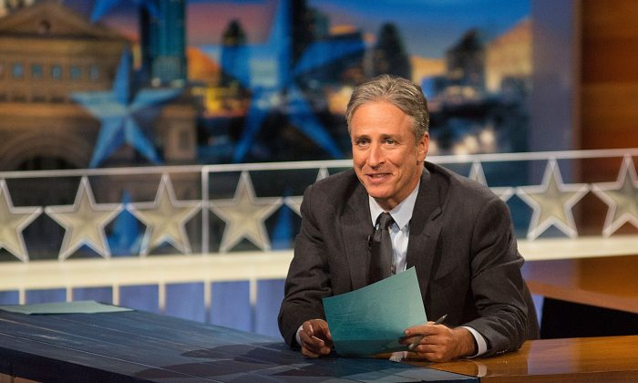 """Host Jon Stewart at """"The Daily Show with Jon Stewart"""" covers the Midterm elections in Austin with """"Democalypse 2014: South By South Mess"""" at ZACH Theatre on October 28, 2014 in Austin, Texas.  (Rick Kern/Getty Images for Comedy Central)"""