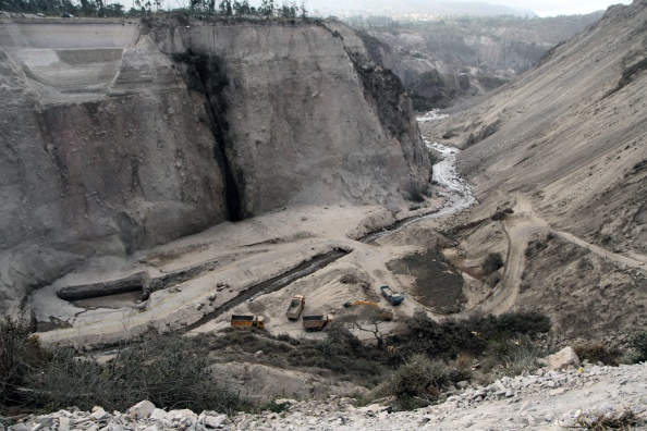 View at the quarry in Catequilla, near Quito, following a landslide after a 5.1-magnitude earthquake rattled the Ecuadoran capital and the surrounding area causing buildings and homes to shake violently, on August 12, 2014. (Juan Cevallos/AFP/Getty Images)