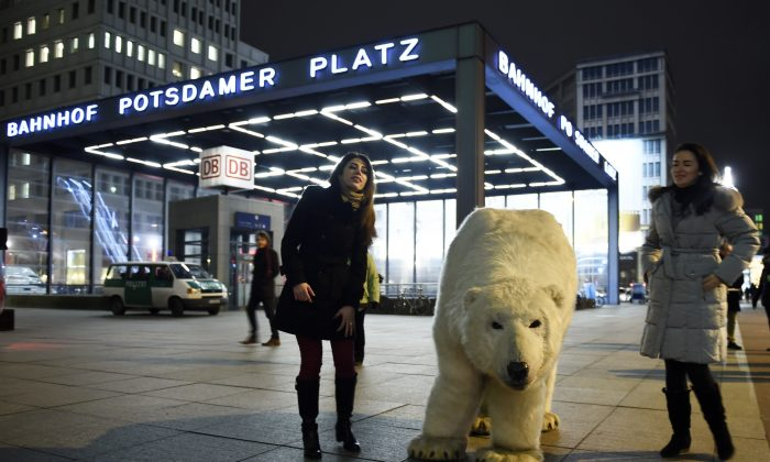 Supporters of Greenpeace pose next to a mock polar bear during a protest action in Berlin, on Feb. 10, 2015, against drilling for oil in the Arctic. (Odd Andersen/AFP/Getty Images)