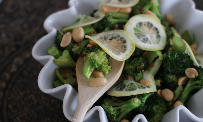 Peanut broccoli With Shaved Lemon. (AP Photo/Matthew Mead)
