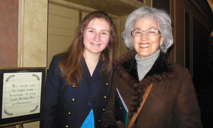 Sophia Campbell and her grandmother, Leonor Campbell, enjoyed Shen Yun Performing Arts at the Orpheum Theatre on Feb. 13, 2015. (Sherry Dong/Epoch Times)
