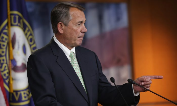 Speaker of the House John Boehner (R-OH) holds his weekly news conference in the Capitol Visitors Center at the U.S. Captiol February 12, 2015 in Washington, DC. (Chip Somodevilla/Getty Images)