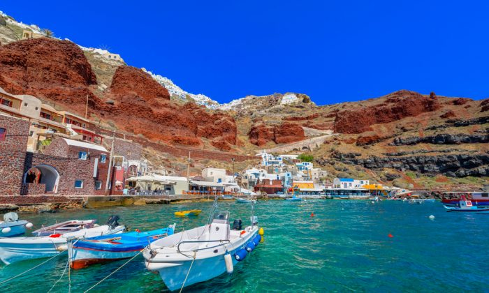 Greece Santorini island in Cyclades, Ammoudi village via Shutterstock*