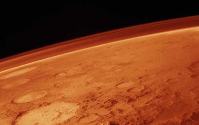 Something big has disturbed the red planet's thin atmosphere. (NASA)
