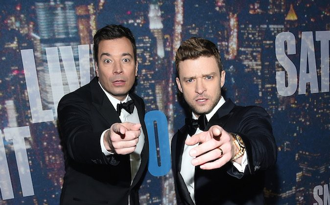 NEW YORK, NY - FEBRUARY 15: Comedian Jimmy Fallon (L) and Justin Timberlake attend SNL 40th Anniversary Celebration at Rockefeller Plaza on February 15, 2015 in New York City. (Photo by Larry Busacca/Getty Images)