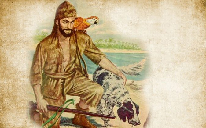 A 1948 Classics Illustrated Comic Book Cover featuring Robinson Crusoe. (Wikimedia Commons) Background: (Ivansmuck/iStock/Thinkstock)