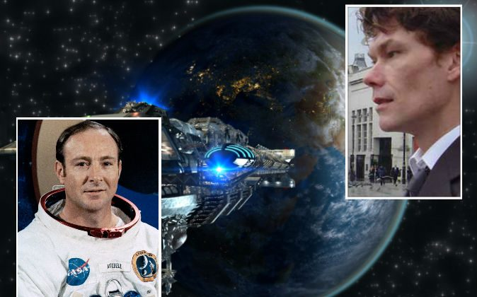 """Left: Astronaut Dr. Edgar Mitchell. (NASA) Right: U.K. computer hacker Gary McKinnon, who has allegedly viewed U.S. government UFO images and excel documents describing """"non-terrestrial officers."""" (Wikimedia Commons) Background: Illustration of a spaceship. (Shutterstock*)"""