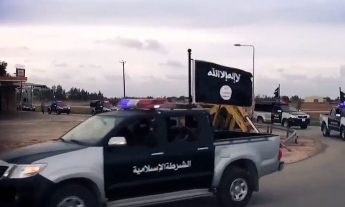 "A so-called ""police"" vehicle outside of Benghazi, Libya (Screenshot/Ansar al-Sharia video)"