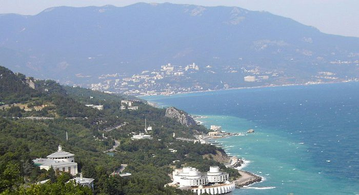 The Crimean Mountains in the background and Yalta as seen from the Tsar's Path - via DDima & Wikipedia Commons