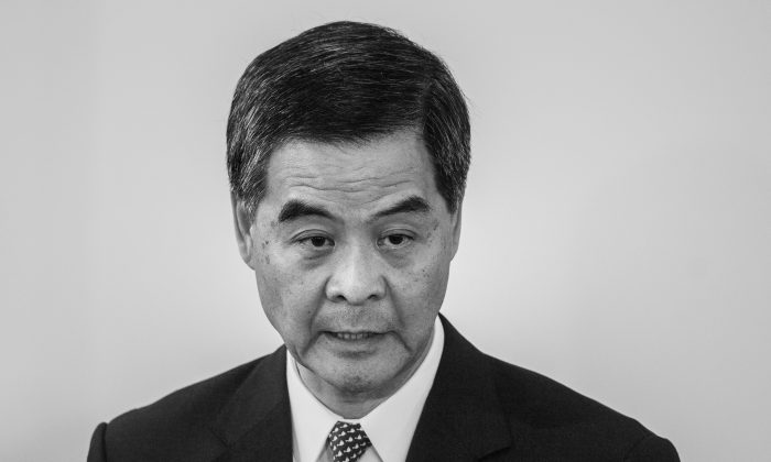 Hong Kong Chief Executive Leung Chun-ying answers questions during a press conference in Hong Kong on Oct. 16, 2014. (Philippe Lopez/AFP/Getty Images)