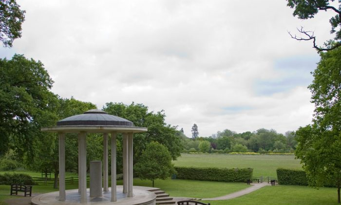 The Magna Carta Memorial at Runnymede Meadow is one of several memorials erected over the years at the site where the renowned document was signed in 1215. The Magna Carta and its companion, the Charter of the Forest, will begin a tour of four Canadian cities on June 11, 2015. (WyrdLight.com/Wikimedia Commons)