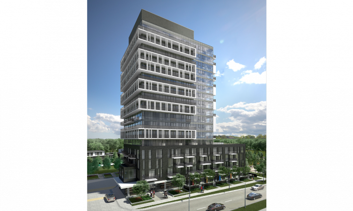 Rendering of Soul Condos, part of a condo and townhouse development by FRAM Building Group at Fairview Mall Drive in Toronto that will ultimately include five mid-rise buildings and townhouses, 1,000 units in all. (Cornerstone Marketing Realty)