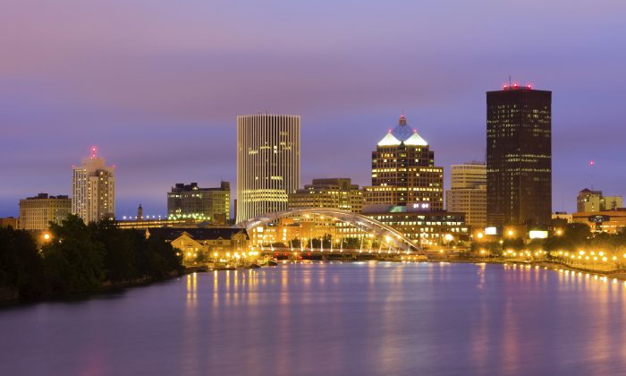 Evening skyline in Rochester, N.Y. Returning to Rochester for its seventh year, Shen Yun Performing Arts is set to grace the stage at the Auditorium Theatre with two performances of captivating classical Chinese dance and music on Feb. 21-22, 2015. (photoquest7/iStock/Thinkstock)