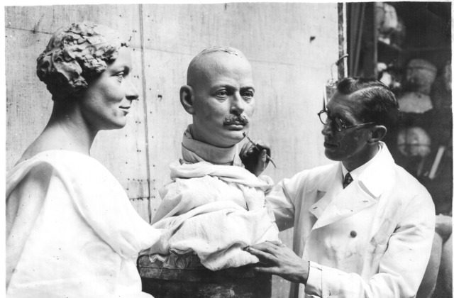 Bernard Tussaud, son of Marie Tussaud, finishes wax figures in1935. (Public Domain)