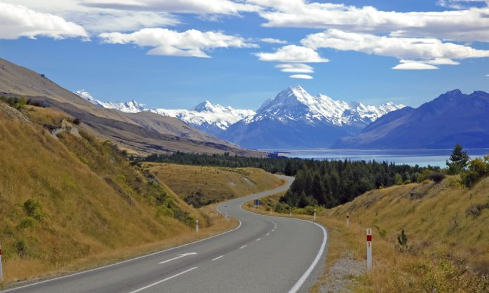 Approaching Mount Cook / Aoraki and Lake Tekapo, South Island, New Zealand via Shutterstock*