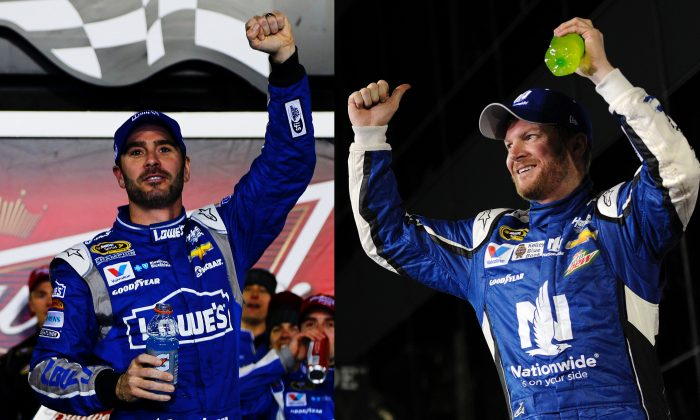 Jimmie Johnson, (R) driver of the #48 Lowe's Chevrolet, (Jerry Markland/Getty Images) and Dale Earnhardt Jr., driver of the #88 Nationwide Chevrolet, (Jared C. Tilton/Getty Images) celebrates in victory lane after winning the NASCAR Sprint Cup Series Budweiser Duels 2 and 1 at Daytona International Speedway on February 19, 2015 in Daytona Beach, Florida.