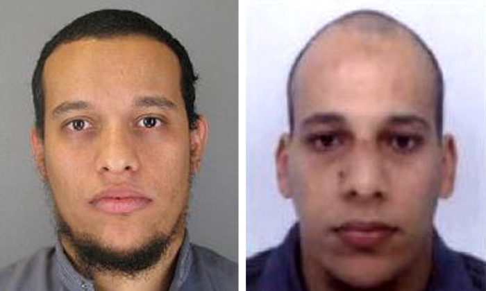 Pictured in this composite of handout photos on Jan. 8, 2015 are Said Kouachi, 34, (L) and Cherif Kouachi, 32, who were shooters in the attack at the satirical weekly Charlie Hebdo in Paris. (Direction centrale de la Police judiciaire via Getty Images)