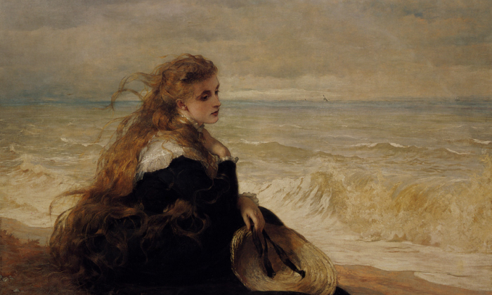 """""""On The Seashore,"""" 1879, by George Elgar Hicks. Oil on canvas. Private collection. (Image courtesy of Art Renewal Center)"""