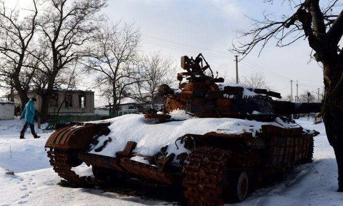 A tank destroyed during fighting between pro-Russia and Ukrainian forces in the village of Stepanivka, eastern Ukraine, on Dec. 30, 2014. (Vasily Maximov/AFP/Getty Images)